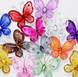 Wholesale 50PCS bricolage organza papillons artisanat décoration de mariage de mariage Favous fournitures Colorfull