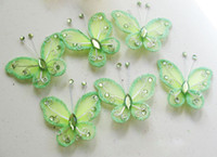 Wholesale DIY Organza Butterflies Wired Organza Butterflies Craft Wedding Party Decoration Wedding Favour Supplies Colorfull