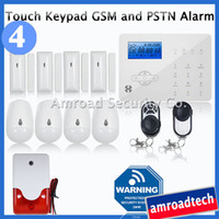 Wholesale 40 Zone Touch Keypad LCD GSM and PSTN Wireless Security Home Office Burglar Intruder Alert Alarm System Auto Dialler iHome328GPB4