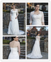 Wholesale Garden Beaded Lace Applique Pleated Bodice Button Zipper Jacket Organza Beach Plus Size Bridal Gown