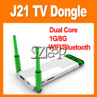 Wholesale J21 Android TV Box Rock Chip RK3066 Dual Core Google TV Dongle Dual Antenna G G Support WiFi Bluetooth HDMI