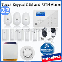 Wholesale Touch Keypad LCD GSM and PSTN Wireless Security Home Office Burglar Intruder Alarm System Auto Dial w Solar Powered Siren iHome328GPB22