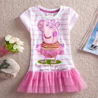 Wholesale kid wear Cotton Girls Dress new summer hot Peppa pig girl applique sequin dress tunic top Lovely Princess Party Dress kungfuboy
