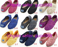 Wholesale New Women s Tom Classic Sunflower Crochet stripes glitters casual canvas shoes EVA Flat shoes shoe colors mixed Crochet Style