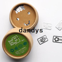 Wholesale Freeshipping NEW set Creative Metal Bookmarks book line marker Cartoon Paper Clip with retail box