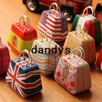 Jewelry Packaging & Display Green, Blue, Brown, Orange, Gray, Yellow Stone Handbag bag mini storage small box coin box iron case gift tin
