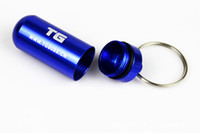Wholesale 50pcs Cleverish Alloy Waterproof Pharmaceutical Bottle Drug Vase Pill Case Medicine Bottle with Key Ring for Outdoor Color Mixed