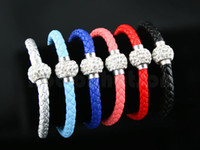 Wholesale PU Leather Shiny One Single Crystal Ball Shamballa Magnetic Bracelet Cuff