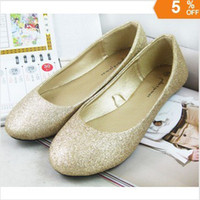 Wholesale Ladies Glitter flats ballet shoes spring and fall fashion