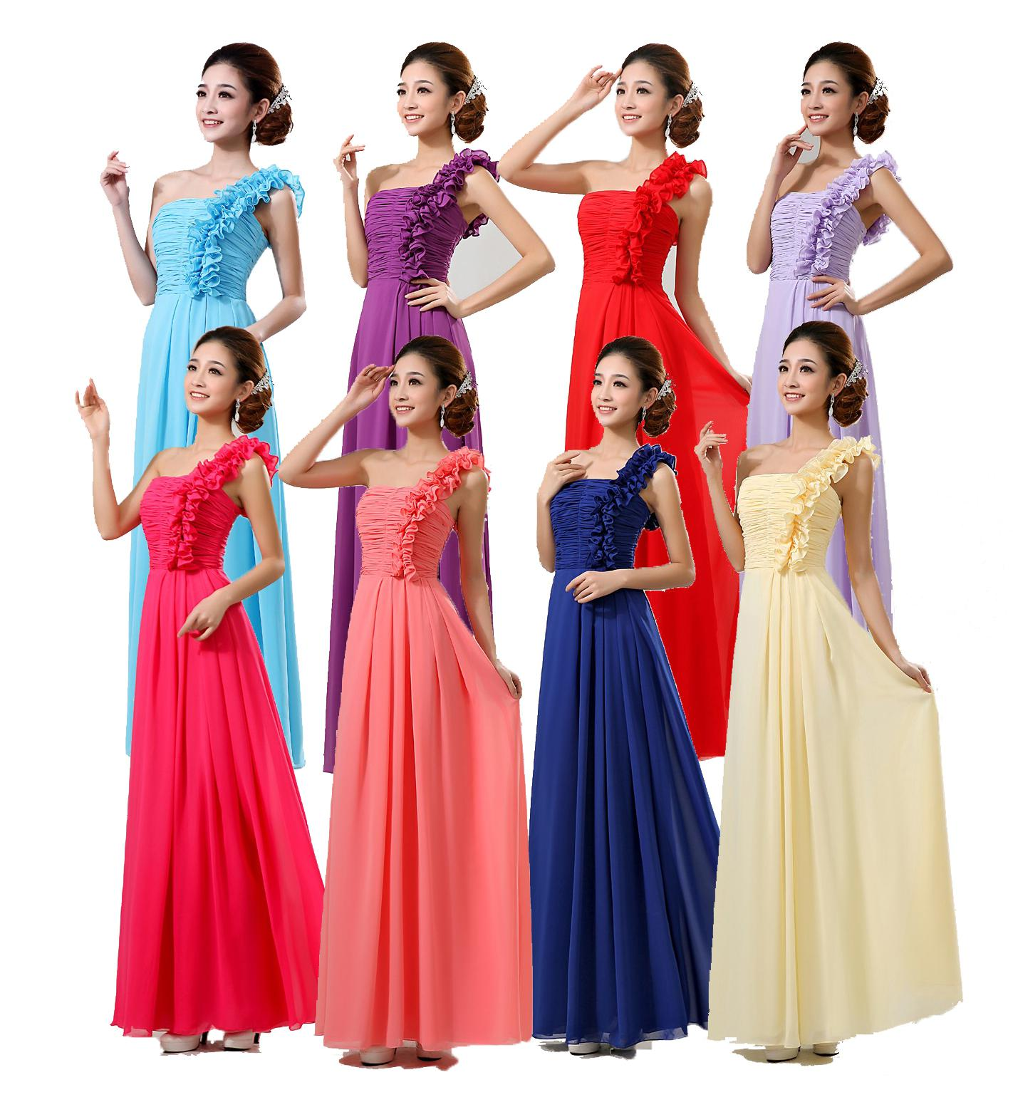 Bridesmaid chiffon one shoulder wedding dresses evening womens bridesmaid chiffon one shoulder wedding dresses evening womens long red blue purple yellow dress cocktail dress bridesmaid dress party dress online with ombrellifo Gallery