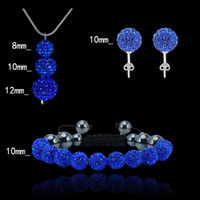 Wholesale Shamballa Crystal Jewelry Set Silver Snake Chain Fit CZ Disco Crystal Ball Beads Pendant Necklace Stud Earring Bracelet