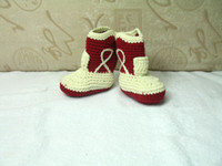 Winter baby girl cowboy boots - 2013 Hot New baby kids cute handmade shoes infant crochet cowboy snow boots pairs