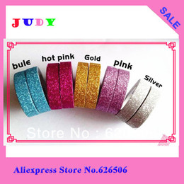 Freeshipping! 2013New Colorful glitter fabric tape good quality tinselled stick Adhesive Tape wedding tape wholesale