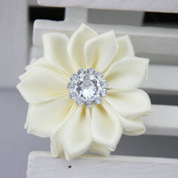 Wholesale DIY flower for hair clip headband hat shoes skirt Satin Ribbon Multilayers Flower With crystal
