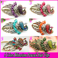 Wholesale Fashion Jewelry Hair Clip Bohemian Rhinestone Peacock Duck Clip Banana Clips Hair Barrette Hairpin Hair Accessories