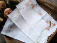 Wholesale LADIES VINTAGE Design COTTON HANKY Floral Printing HANDKERCHIEF with embroidered edge quot