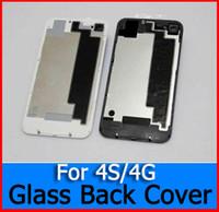высокое качество Марка Заднее стекло Аккумулятор Задняя обложка Корпус для iPhone 4 4G 4S Черный Белый Цвет