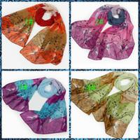 Wholesale Fashion scarf shawl roses pattern Chiffon Printed Scarfs mix Colors CM