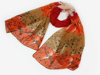 Wholesale Fashion Forward Fashion scarf shawl roses pattern Chiffon Printed Scarfs Colors CM