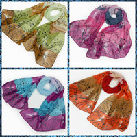 Wholesale Hot Sales Fashion scarf shawl roses pattern Chiffon Printed Scarfs mix Colors CM