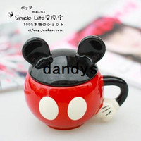 Wholesale MICKEY super man cup bone japanese style mug cup ceramic cup brush with lid