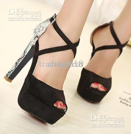 New Elegant Sweet Black Cross Over Strappy Open Toe Platform ...