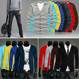 Wholesale 8 Colors Men Long Sleeves Knitwear Slim Fit V neck Cardigan Sweater size MF