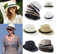 Wholesale Unisex Fedora Trilby Gangster Cap Summer Beach Sun Straw Panama Hat New Women s