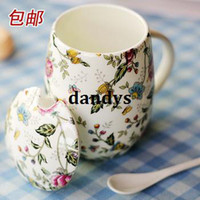 Bone China bone china - Fashion bone china mug with lid belt spoon bone china cup milk cup