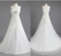 Wholesale Graceful New Summer Dress Strapless A line Lace up Cathedral Train Beads Pleat Lace Wedding Grown