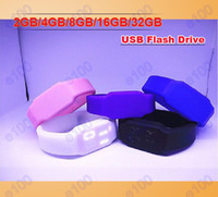 Wholesale 2GB GB GB GB GB Fashion silicone LED Watch USB Flash Memory Pen Drive Sticks Thumb Drives Disks Discs Pendrives X098J