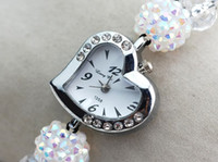 Wholesale piece New Women fashion heart shape with crystal and diamond Quartz Watches