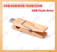 Wholesale 2GB GB GB GB GB Wood Clamps Shape USB Flash Memory Pen Drive Sticks Thumb Drives Disks Discs Pendrives Thumbdrives