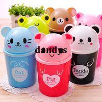 Wholesale Mini fashion desktop garbage bucket flip debris bucket cartoon animal storage bucket