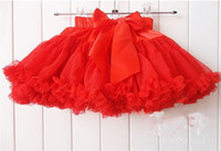Wholesale Cheap Girls Lace Dress Baby Country style summer girls tutu skirts Veil Silk Bow Children Skirt Ribbon Wedding Red MZ15