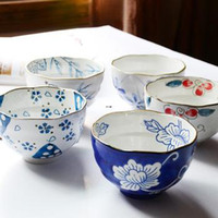 Bowls japanese ceramics - Japanese style hand painting ceramic rice bowl coarse thread ruffle bowl flower bowl
