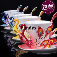 Wholesale Free Shiping Peacock bone china ceramic coffee cup porcelain enamel porcelain flange gift cup fashion