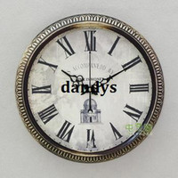 Mechanical Wall Clocks Circular Free Shipping, 14 Large fashion vintage wrought iron wall clock silent movement g941