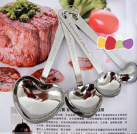 Wholesale hot fashion new Sweet set heart love sharped stainless steel measuring spoons for wedding bridal festival party Decoration