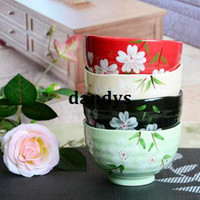 Wholesale Porcelain japanese style ceramic rice bowl flower petals ceramic bowl color glaze bowl