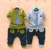 Christmas Boy 1~12 years Wholesale - Spring autumn winter boy false tie top+pant set casual fashion children's clothing 2 piece set. 4p l