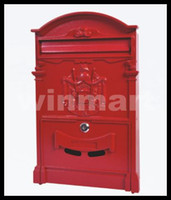 Wholesale European mailbox antique ancient way cast aluminium waterproof villa outdoor tell us you want red or black