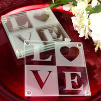 glass coasters - 2013 fashion designer square heart LOVE letters Wedding Gifts Classic Glass cup Coasters for wedding bridal festival party Decoration
