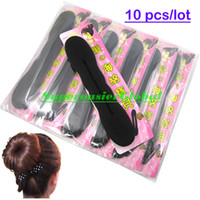 Wholesale Black Women Lady Girl Foam Style Magic Bun Hair Styling Maker Tool Clips Twist Stick with Retail Package