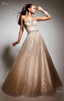 Wholesale 2013 Champagne Sweetheart Strapless Ball Gown Sequins Prom Dresses Evening Gown