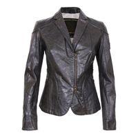 Women Fur Waist_Length Designer women leather Jacket western suit style tailored collar swallow hem hidden zipper pocket below free shipping