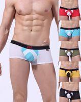 Men Nylon Boxers & Boy Shorts 2 PCS Holes Designer New Arrival Mens Sexy Bulging Pouch Low Rise Boxer Brief Underwear Boxers Briefs Trunks Shorts Lingerie S M L 6 Colors