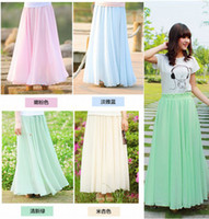 Wholesale 2013 New Fashion Long Maxi Skirts For Women Bohemia Summer Pleated Chiffon Skirts Double Layer Inner Linning Solid Color S M L