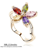 Wholesale Topshop K Gold Plated Austrian Crystal Flower Ring Finger Rings for Women