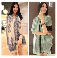 Wholesale Girl Long Scarf Gift Blue And White Porcelain Autumn Winter Lady Shawls Silk Chiffon Sexy C0842